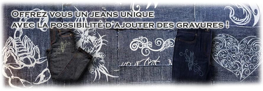 Des gravures sur votre jeans sur mesure de chez PhilDean !